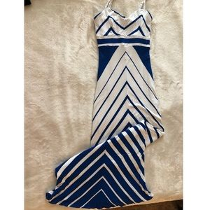 Bebe Maxi Dress - White/Blue